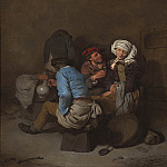 European art; part 1 - Cornelis Bega A peasant woman seduced by a man in an interior