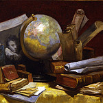 European art; part 1 - Antoine Vollon Still life with a map of the world books and parchments 29888 172