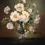 European art; part 1 - Cecil Kennedy Flowers in a silver pedestal vase 40224 20