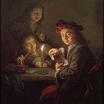 European art; part 1 - Arnold Boonen A candlelit interior with boys playing cards 97799 20