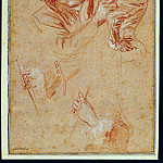 European art; part 1 - Antoine Watteau A Man seen en face pulling a Curtain a young Woman posing on the right and two Studies of Hands holding a Bow and a Fingerboard respectively 90108 172
