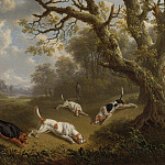 European art; part 1 - Charles Towne Sportsmen with dogs on the scent 100359 20