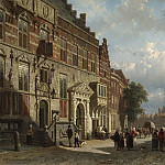 Cornelis Springer The Town Hall on the Burchtstraat with St Stevens Church beyond Nijmegen 28842 20, Том Холл