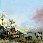 European art; part 1 - Aert Neer van der A Village in Winter with Skaters on a Frozen Canal 30828 276