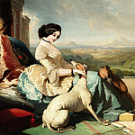 European art; part 1 - ALFRED DE DREUX A Lady sitting with two Greyhounds