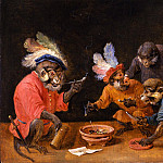 European art; part 1 - DAVID TENIERS THE YOUNGER Monkeys drinking and smoking; and Monkeys playing cards 90216 184
