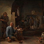 European art; part 1 - David Teniers The Younger The interior of an inn with peasants smoking by a table and conversing before a fire 27930 20
