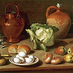Carlo Magini 1720 1806 Still Life with Eggs Cabbage and CandlestickStill Life with Cup Bottle Clay Pot and Candlestick 17945 203, Carlo Magini