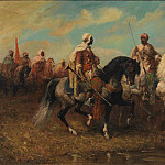 European art; part 1 - Adolf Schreyer Arab Horsemen 122514 3606