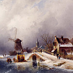 European art; part 1 - Charles Henri Joseph Leickert Skaters in a Winter Landscape Holland 12142 2426