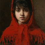 European art; part 1 - Alexei Alexeiwicz Harlamoff Young girl in a red shawl 98659 20