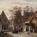 European art; part 1 - Cornelis Springer A street scene in Makkum Friesland 28840 20