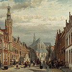 Cornelis Springer View of the Town Hall and St Lawrences Church in Alkmaar 28843 20, Том Холл