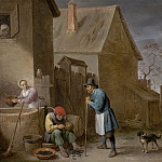 European art; part 1 - David Teniers The Younger A peasant eating mussels at a farm 42088 20