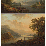 European art; part 1 - Christian Georg Schutz Rhenish river landscapes Dawn and Dusk 100079 20