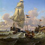 European art; part 1 - Alexandre J FRANCIA Boats near the Pier 87439 121