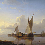 European art; part 1 - Abraham Hulk Snr Vessels in a calm at sunset