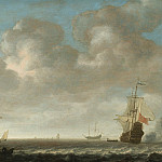 European art; part 1 - An estuary scene with a Man OWar firing a salute to the right and small vessels off a jetty to the left 25807 20