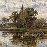 European art; part 1 - Alfred Augustus Glendening River Scene with Swans