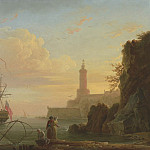 European art; part 1 - Claude Joseph Vernet A Mediterranean port at sunrise 100419 20