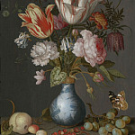 European art; part 1 - Balthasar van der Ast Flowers in a blue & white gilt vase