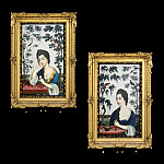 European art; part 1 - An Exceptional Pair of 18th Century Chinese Export Reverse Mirror Paintings on Glass 5908 308