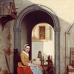 European art; part 1 - Antoon Francois Heyligers A Young Lady at a Spinning Wheel 12107 2426