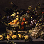 European art; part 1 - ADRIAEN VAN UTRECHT - A still life with apricots plums figs peaches and grapes in a basket on a stone ledge together with pears squash and asparagus