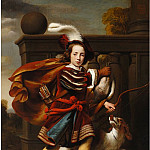 European art; part 1 - CORNELIS BISSCHOP Portrait of a Young Boy as a Hunter with His King Charles Spaniel