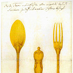 European art; part 1 - AUGSBURG MASTER mid 18 Century Design for a Silver Cutlery Set 11679 172