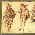 European art; part 1 - Claude Gillot Four Commedia dell'Arte Figures Three Gentlemen and Pierrot 39747 172