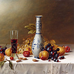 часть 5 -- European art Европейская живопись - Roy Hodrien Still Life with Delft Vase Red Wine & Fruits on a Tablecloth 12119 2426