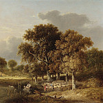 часть 5 -- European art Европейская живопись - Samuel David Colkett Norfolk river landscape with sheep dipping in the foreground 28226 20