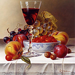 часть 5 -- European art Европейская живопись - Roy Hodrien Still Life with Red Wine & Cherries on a Tablecloth 26124 2426