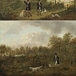 часть 5 -- European art Европейская живопись - Samuel John Egbert Jones Gentleman walking up game in a wood with a pointer and a setter; gentlemen reloading their gusn with two pointers and a setter 99159 20