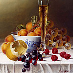 часть 5 -- European art Европейская живопись - Roy Hodrien Still Life with Champagne & Fruit on a Tablecloth 26125 2426