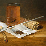 часть 5 -- European art Европейская живопись - Theodoor Smits A Tobacco Still Life with a Pipe smoking utensils a Glass of Beer and Oysters 27403 268