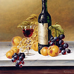 часть 5 -- European art Европейская живопись - Roy Hodrien Still Life with Chateau Haut Brion & Fruit on Marble 19863 2426