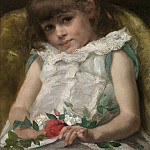 часть 5 -- European art Европейская живопись - RINGEL FrГ©dГ©ric 19th Century Belgian School Young girl with Roses 41048 121