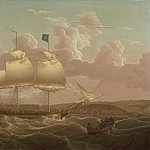 часть 5 -- European art Европейская живопись - Robert Salmon A Privateer in two positions leaving Whitehaven Harbour 99979 20