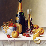 часть 5 -- European art Европейская живопись - Roy Hodrien Still Life with Champagne & Fruit on a Tablecloth 30940 2426