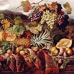 часть 5 -- European art Европейская живопись - William Duffield Still Life with Mixed Fruit & a Rug with Landscape Beyond 11993 2426