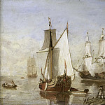 Unknown artist -- Speeljacht en oorlogsschip, 1675-1699, Rijksmuseum: part 4