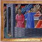 018 Dante and Virgil walking between the walls and the tombs in the city of Dis, and Dante conversing with Farinata degli Uberti and Guido Cavalcanti, who are in their sarcophagus, M B Von Arco
