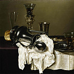 часть 2 -- European art Европейская живопись - GERRET WILLEMSZ HEDA An upturned silver ewer a silver beaker a wine flute a roemer and a fish on pewter plates and other objects all on a partly draped table 89732 172