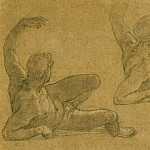 часть 2 -- European art Европейская живопись - FEDERICO ZUCCARO Two Studies of a Reclining Male Nude with his Left Arm Raised 11676 172