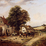 часть 2 -- European art Европейская живопись - Georgina Lara A Farmyard with Figures & Horses 12138 2426