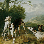часть 2 -- European art Европейская живопись - Flemish School Mid 17th Century Four Greyhounds in a wooded Landscape 18228 268