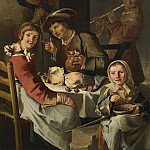 часть 2 -- European art Европейская живопись - Giacomo Francesco Cipper named Il Todeschini A peasants's banquet with a young flute player 40713 203