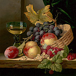 Edward Ladell A basket of peaches and grapes with raspberries and a roemer on a wooden ledge 99259 20, Эдвард Ладел